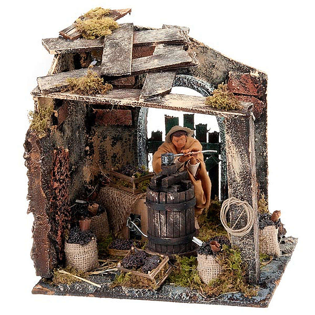 Nativity scene set, farmer at wine press 12cm 4