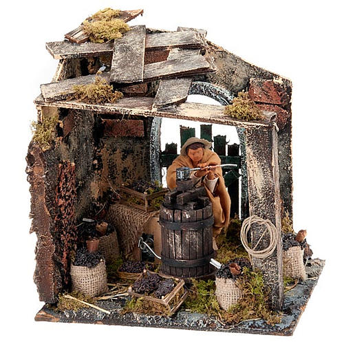 Nativity scene set, farmer at wine press 12cm 1