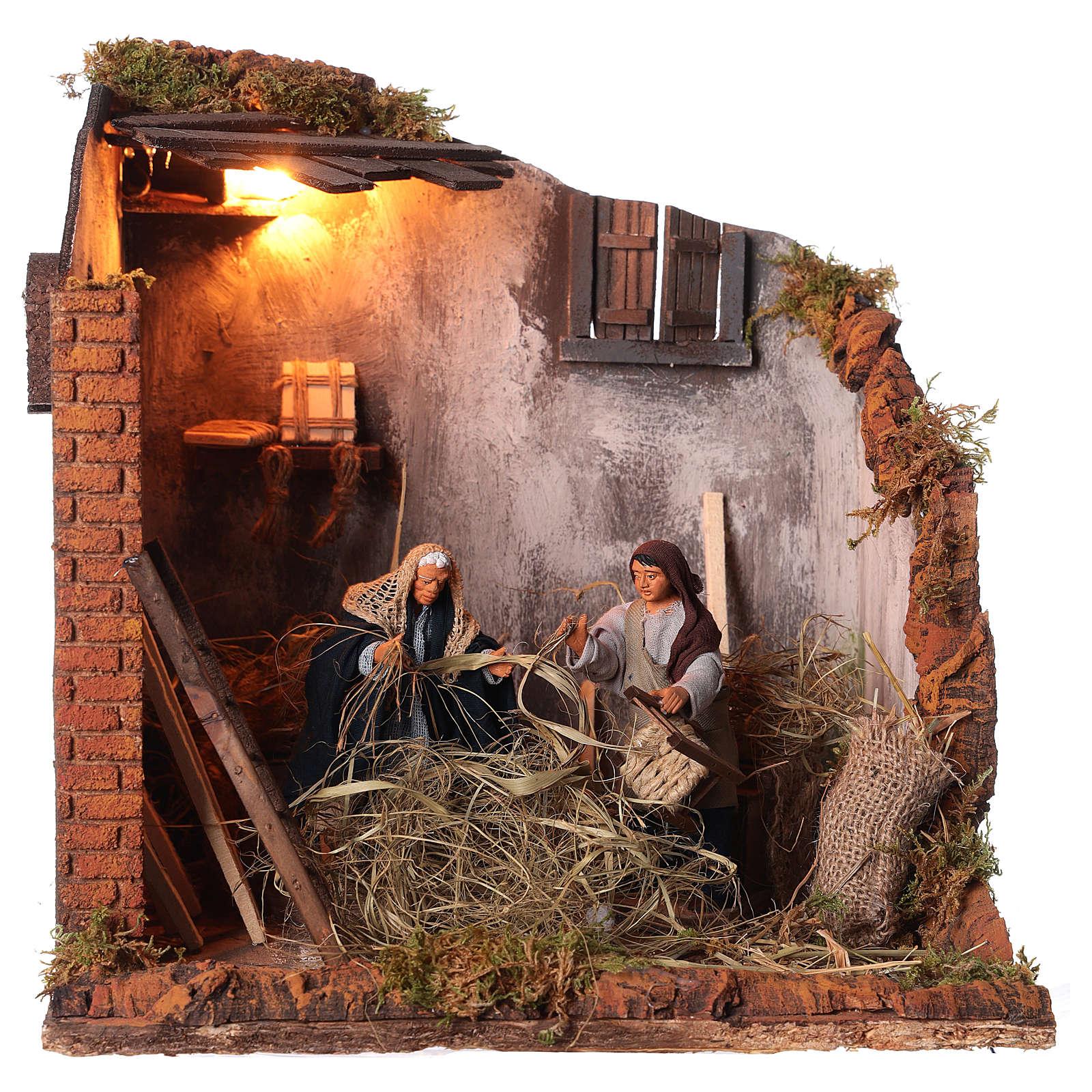 Animated nativity scene, men repairing chairs 12cm 4