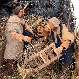 Animated nativity scene, men repairing chairs 12cm s4