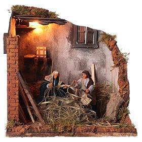 Animated nativity scene, men repairing chairs 12cm s1