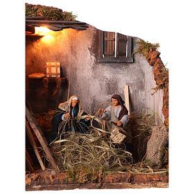 Animated nativity scene, men repairing chairs 12cm s2