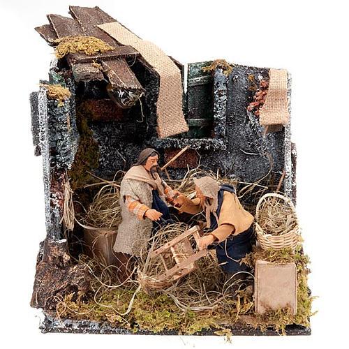 Animated nativity scene, men repairing chairs 12cm 1