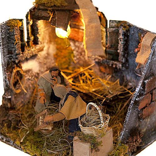 Animated nativity scene, men repairing chairs 12cm 2