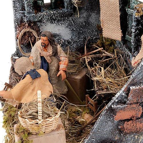 Animated nativity scene, men repairing chairs 12cm 3