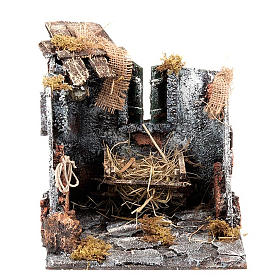 Nativity scene set stable with manger and light 25cm s1