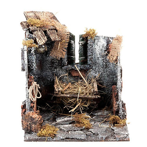 Nativity scene set stable with manger and light 25cm 1
