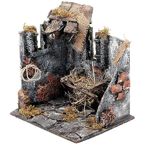 Nativity scene set stable with manger and light 25cm 4