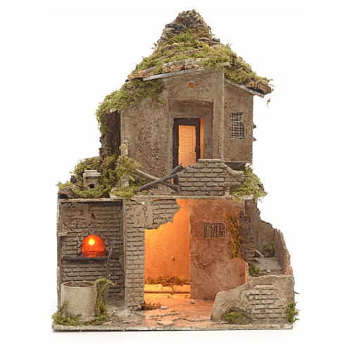 Nativity scene stable with manger and light 53 cm h 1