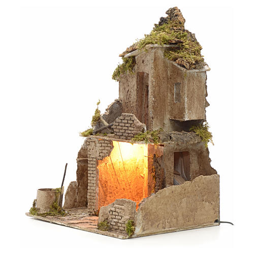 Nativity scene stable with manger and light 53 cm h 3