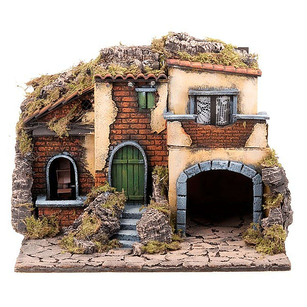 Nativity scene accessory, small village with water mill 30X40X35 cm 4