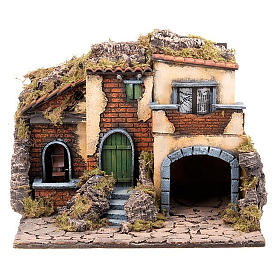 Nativity scene accessory, small village with water mill 30X40X35 cm s1