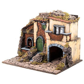 Nativity scene accessory, small village with water mill 30X40X35 cm s4