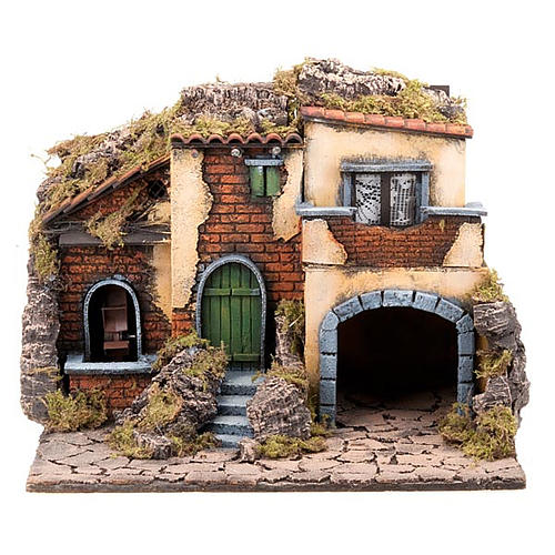 Nativity scene accessory, small village with water mill 30X40X35 cm 1