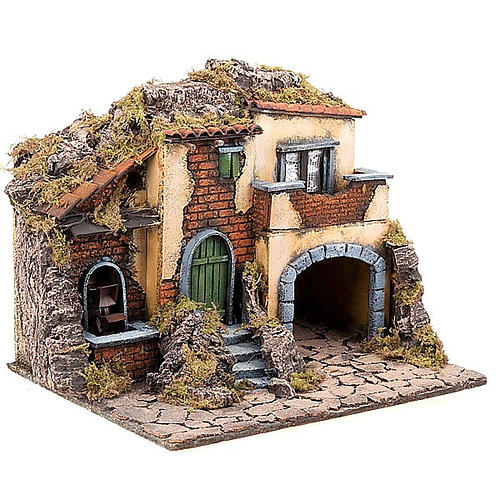 Nativity scene accessory, small village with water mill 30X40X35 cm 3