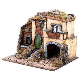 Borgo presepe con mulino ad acqua 30X40X35 s4