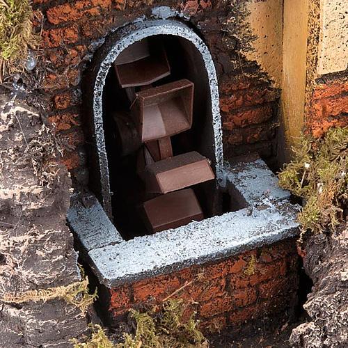 Borgo presepe con mulino ad acqua 30X40X35 2