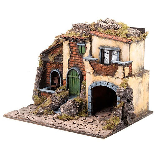 Borgo presepe con mulino ad acqua 30X40X35 4