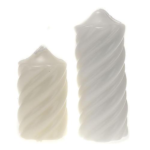 Candela natalizia torciglioni bianca diam. 7 cm 1