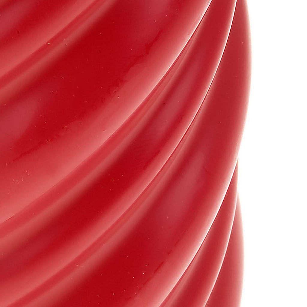 Candela natalizia torciglioni rossa diam. 7 cm 3