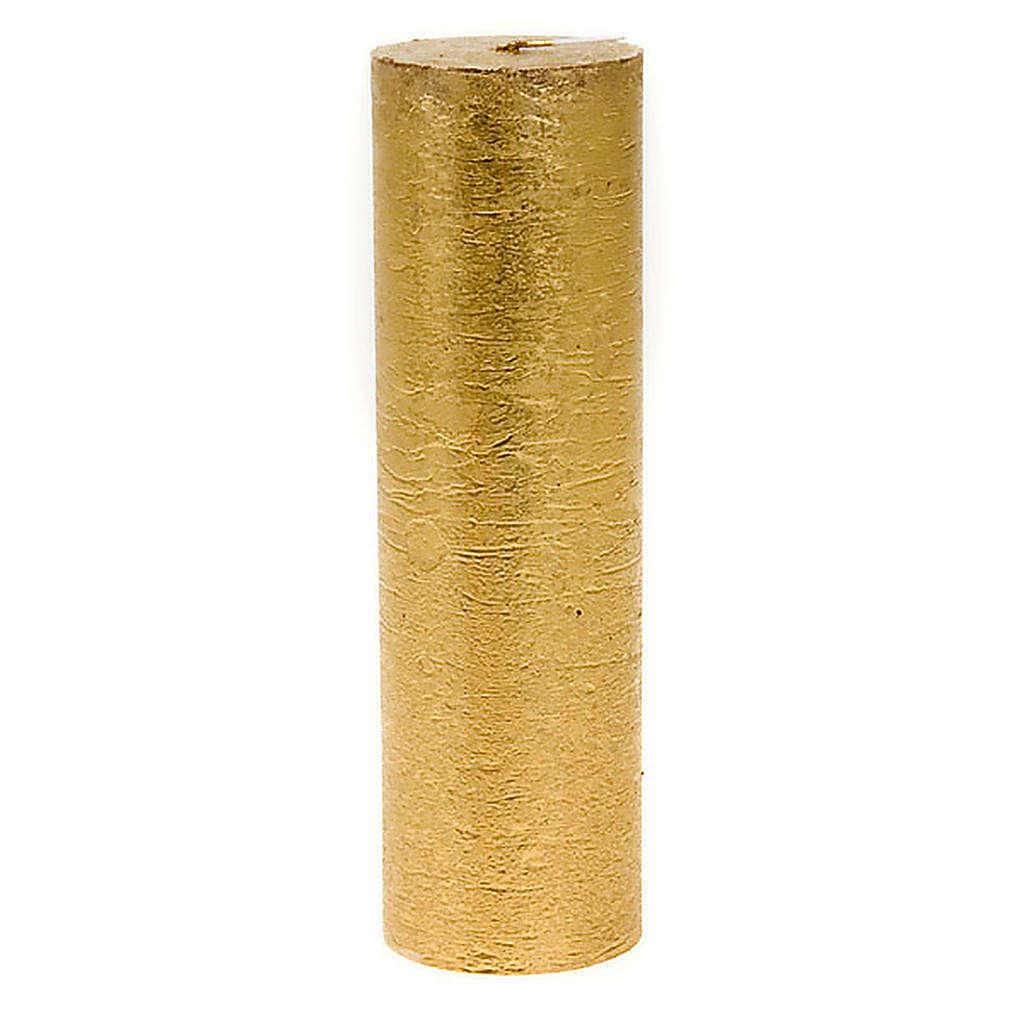 Candela natalizia colonna dorata diam. 5,5 cm 3