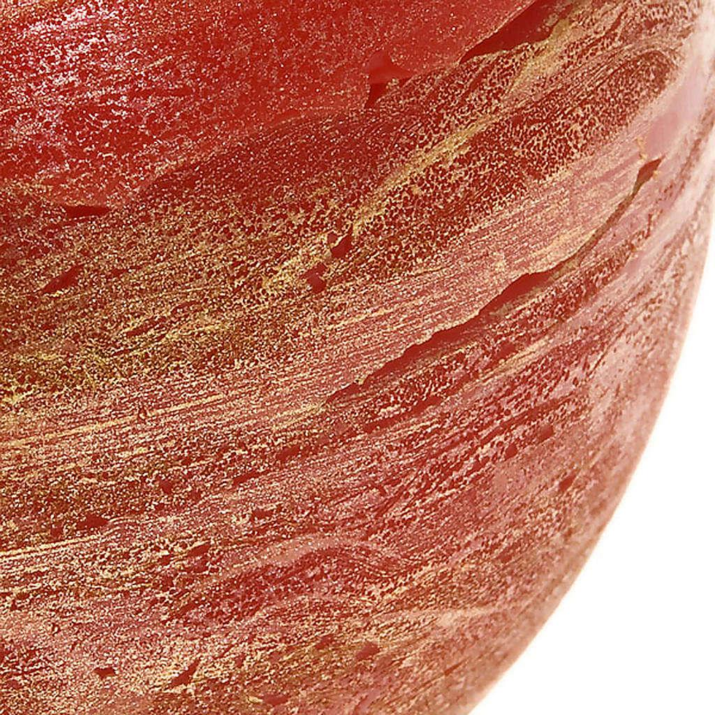 Candela natalizia tonda rossa spugnata oro 3