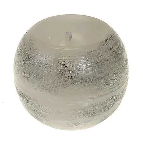 Candela natalizia tonda spugnata argento 1