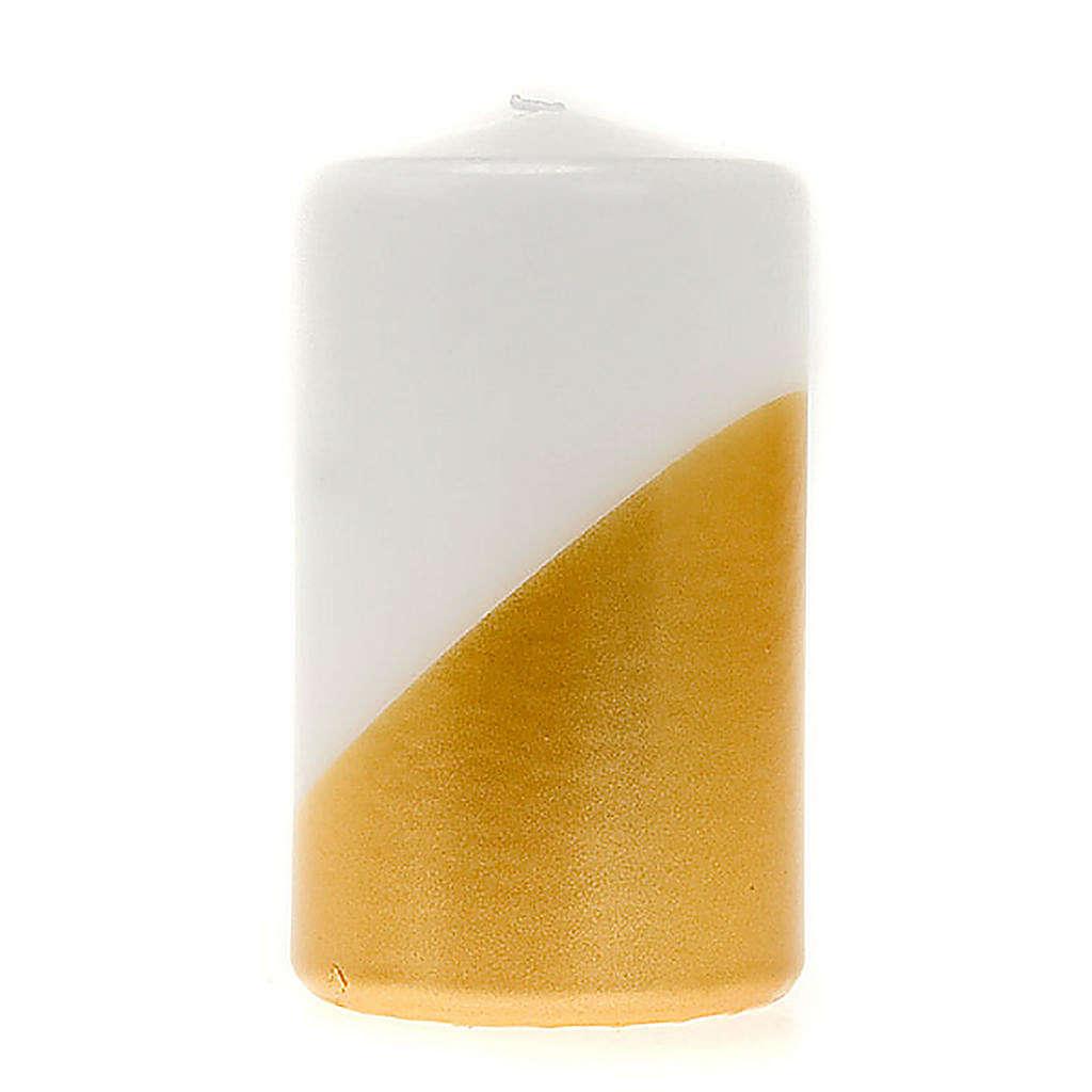 Candela natalizia bianca e oro piatta a punta diam. 7 cm 3