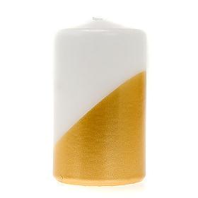 Velas de Natal: Vela natalina brance e ouro diagonal diâm. 7 cm
