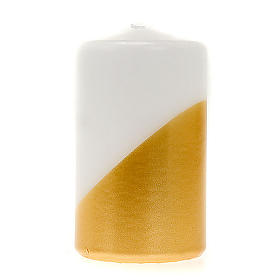 Christmas candle, asymmetrical colours, gold and white s1