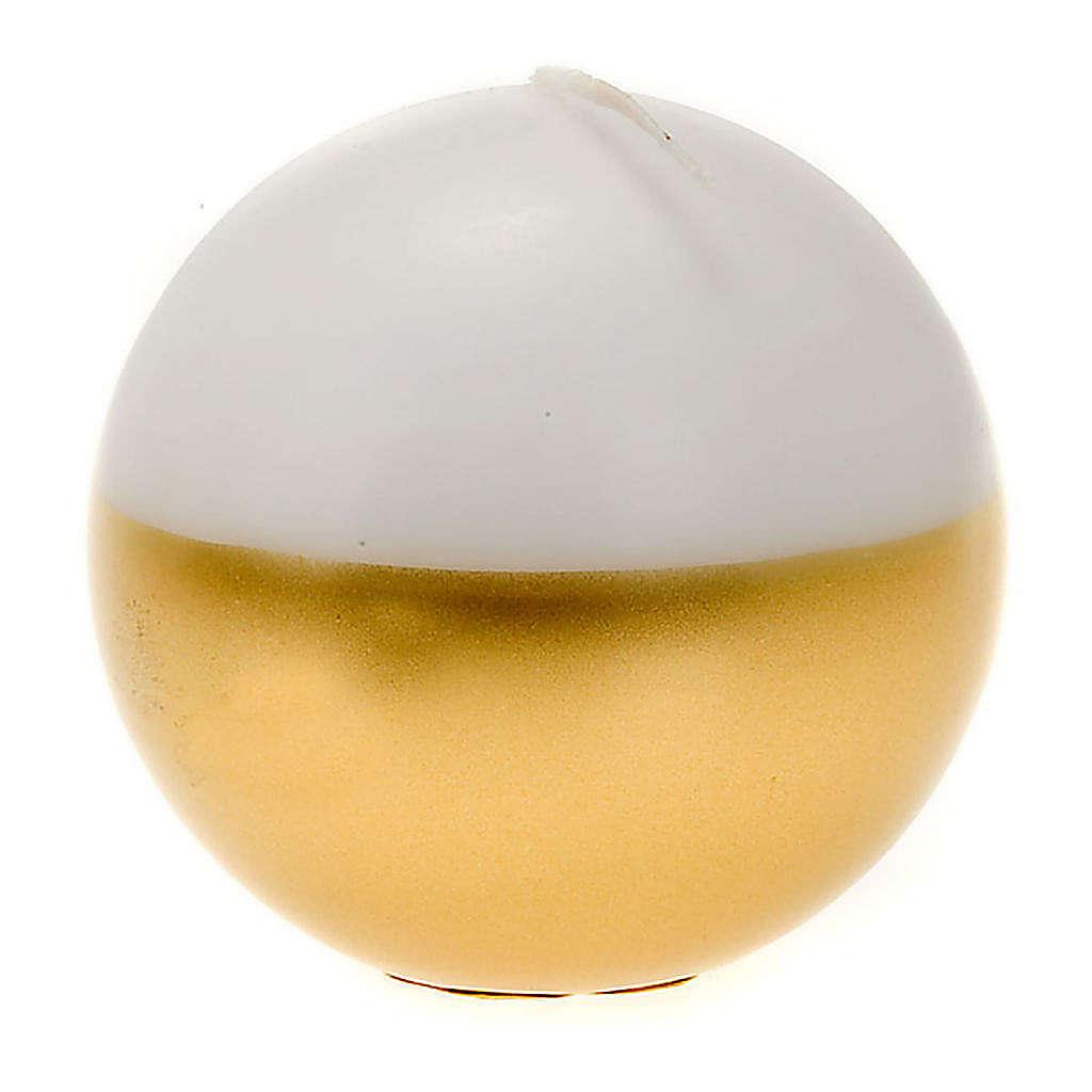 Bougie de Noel,sphère, blanche et or 3