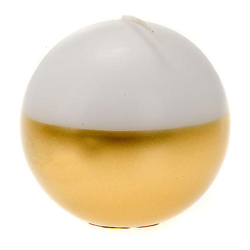 Bougie de Noel,sphère, blanche et or 1