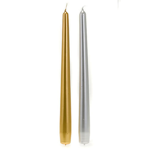 Christmas Taper Candle, gold and silver, 2 cm diameter 1