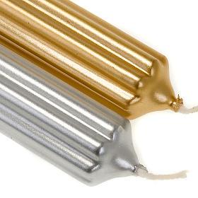 Vela de Natal listrada ouro e prata diâm. 2 cm s2