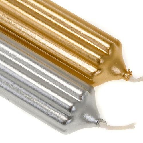 Vela de Natal listrada ouro e prata diâm. 2 cm 2
