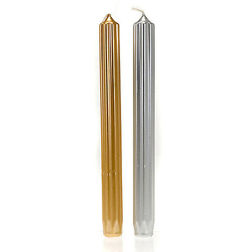 Christmas taper candle, gold and silver striped 2 cm diameter 1