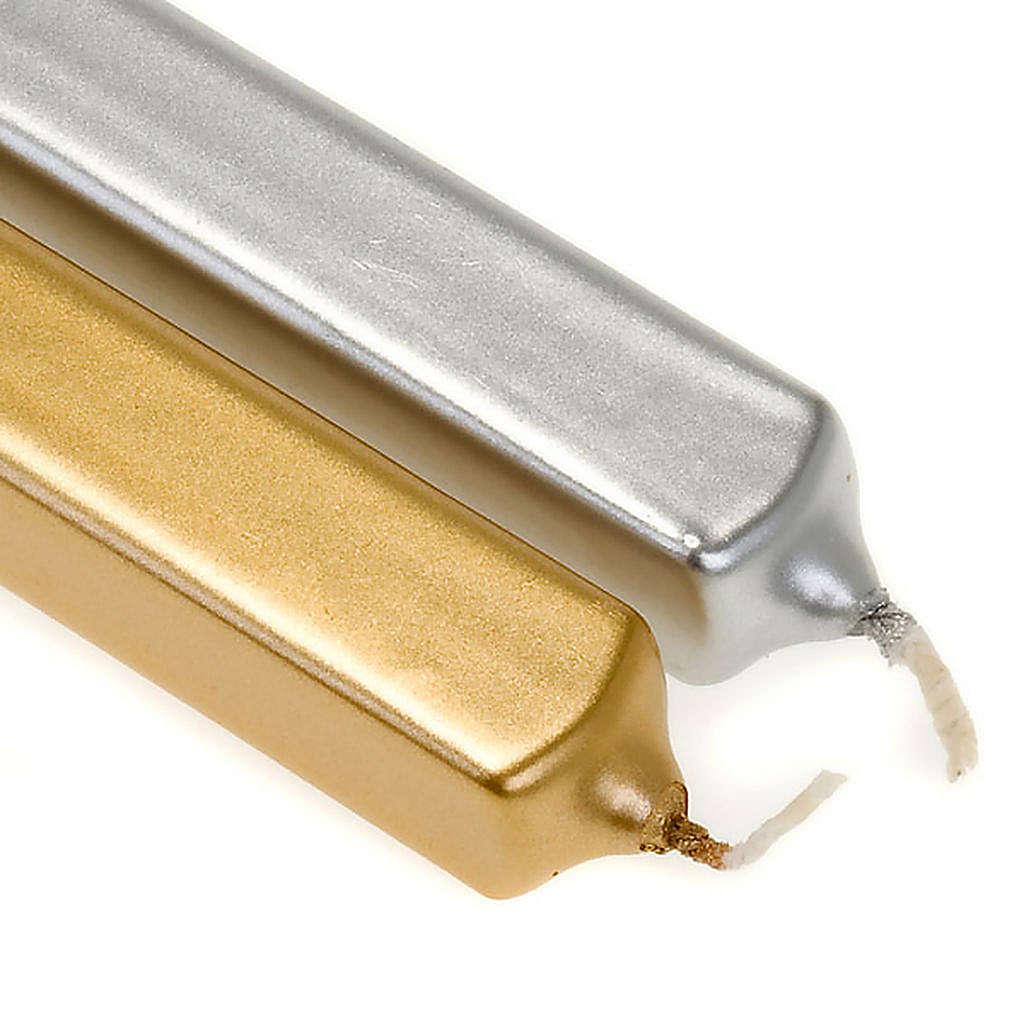 Candela di Natale quadrata oro e argento diam. 2 cm 3