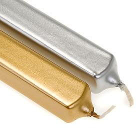 Candela di Natale quadrata oro e argento diam. 2 cm s2