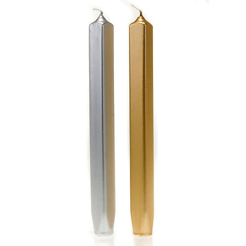 Christmas Taper Candles, square shaped, gold and silver, 2 cm diameter 1