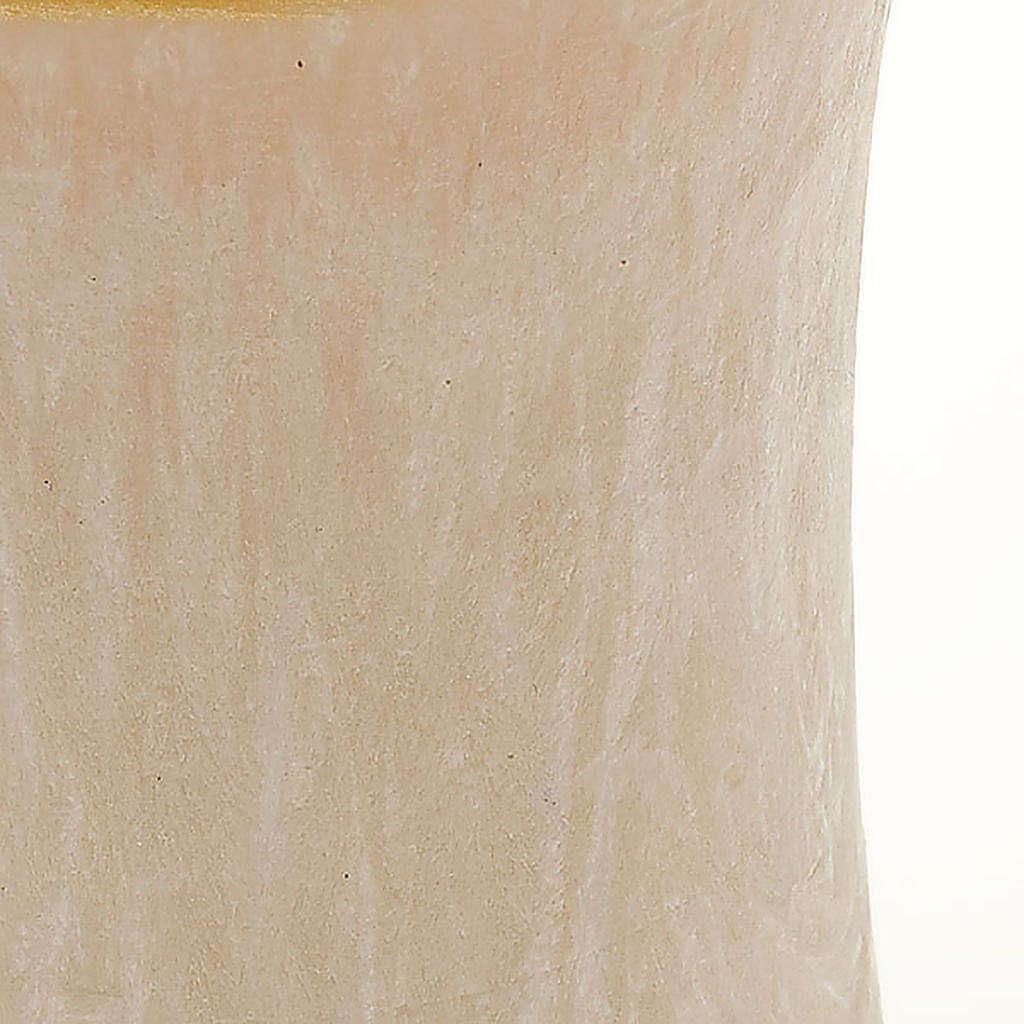 Bougie de Noel, cylindre, ivoire, bord en or, 7 cm de diam&egrav 3