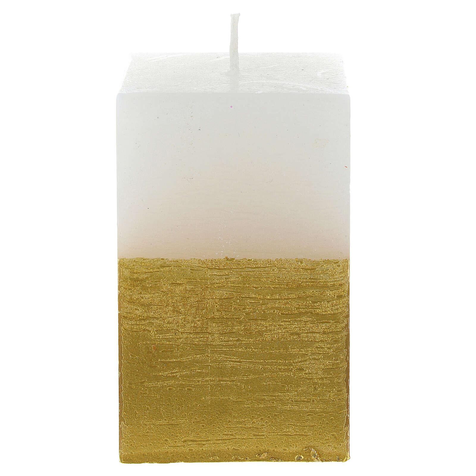 Weihnachtskerze Weiss Gold Durchmesser 5,5 Zentimeter 3