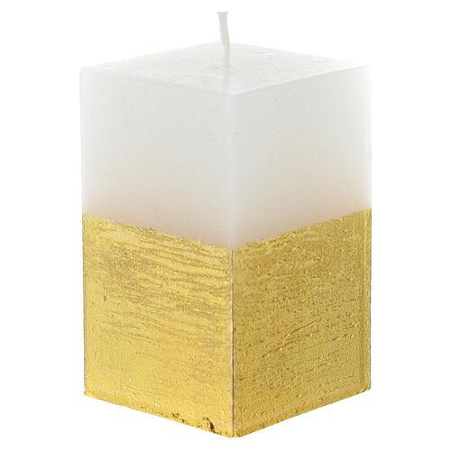 Weihnachtskerze Weiss Gold Durchmesser 5,5 Zentimeter 2