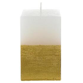 Candela natalizia mezza torre bianca e oro diam. 5,5 cm s1