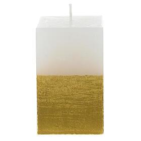 Candela natalizia mezza torre bianca e oro diam. 5,5 cm s3
