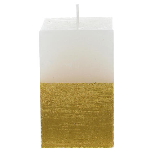 Candela natalizia mezza torre bianca e oro diam. 5,5 cm 3