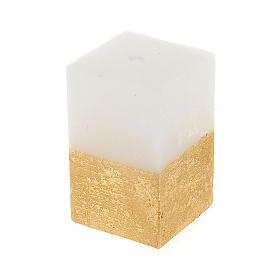 Velas de Natal: Vela de Natal paralelepípedo branco e ouro diâm. 5,5 cm