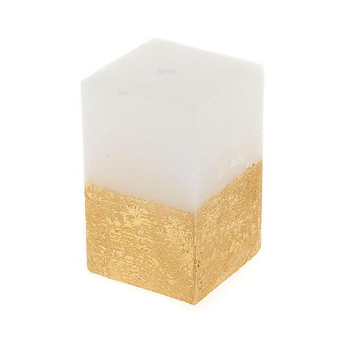 Vela de Natal paralelepípedo branco e ouro diâm. 5,5 cm 1