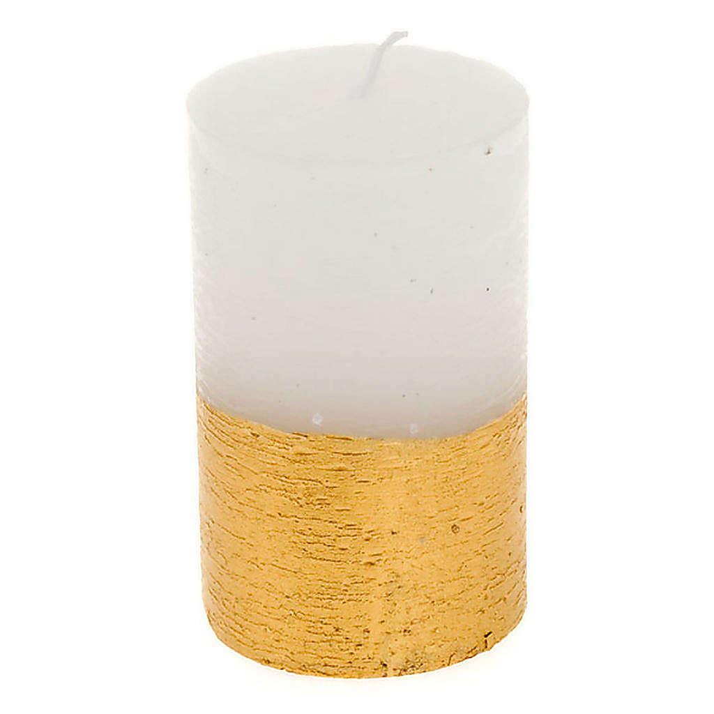 Bougie de Noel, demi colonne, blanc et or, 5.5 cm de diamè 3