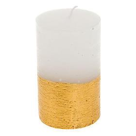 Bougies de Noel: Bougie de Noel, demi colonne, blanc et or, 5.5 cm de diamè