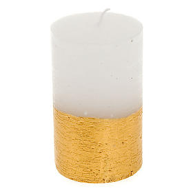 Christmas candle, golden and white cylinder, diam 5.5cm s1